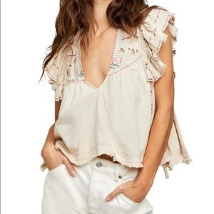 Free People Hailey Embroidered Top NWT